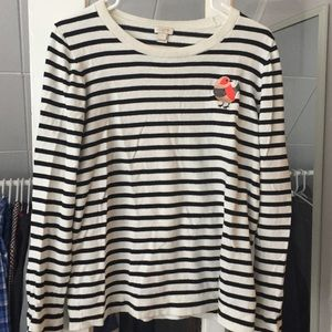 J. Crew thin striped sweater with bird